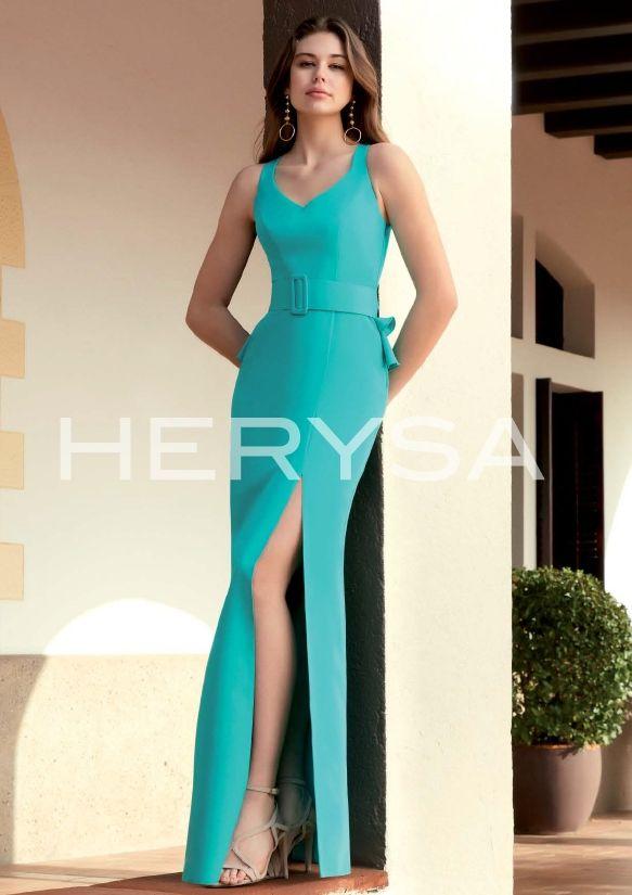 Vestido fiesta largo azul con obertura SYLVIA de HERYSA DUPPLE
