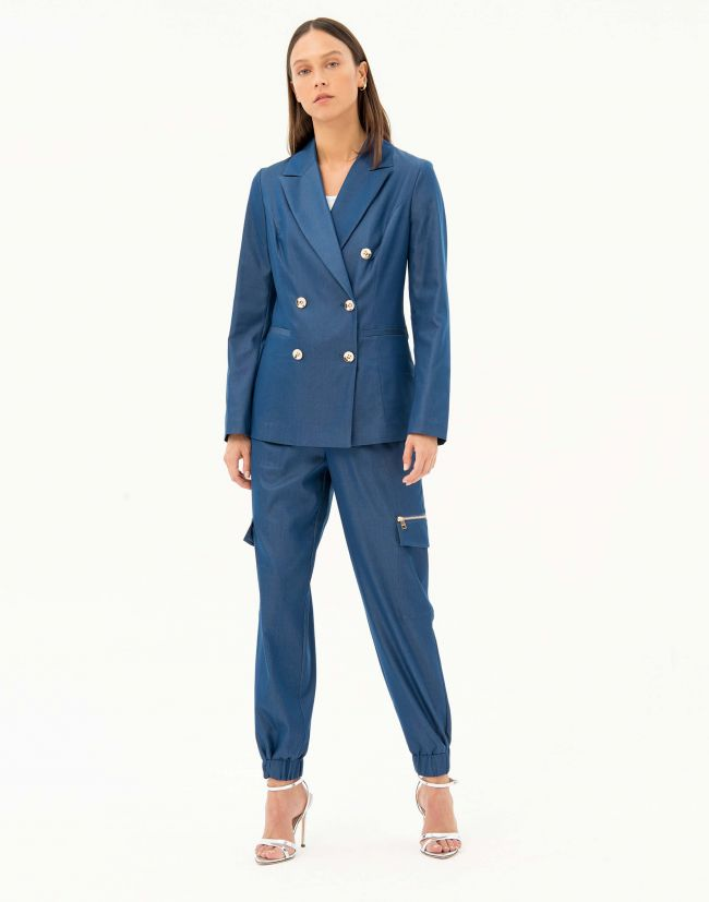 Blazer azul marino mujer con doble botonadura de FRACOMINA