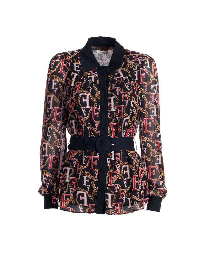 Blusa FRACOMINA estampada logomanía multicolor