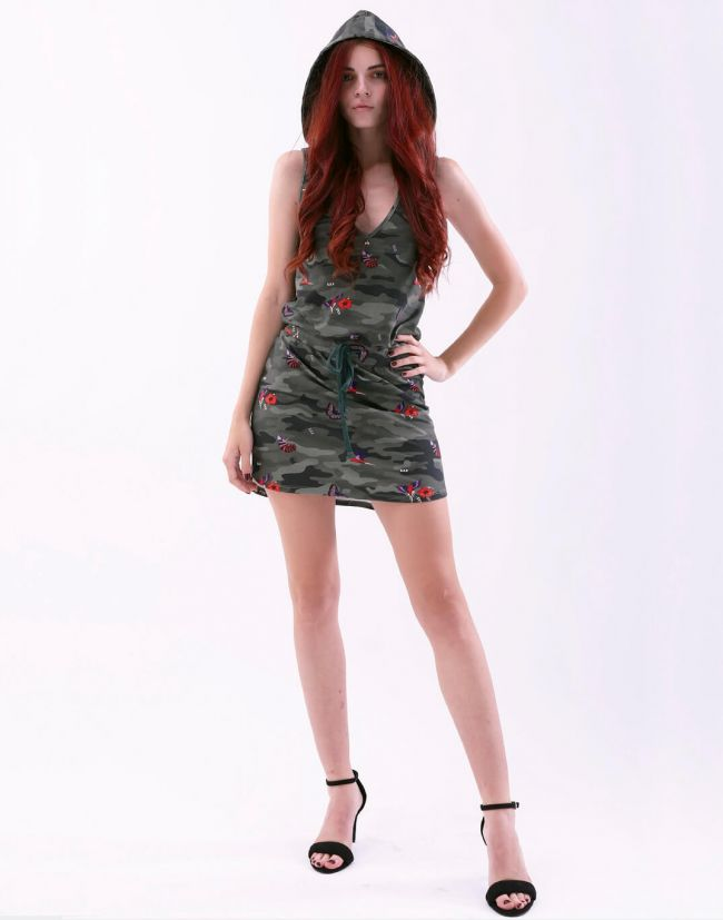 Vestido corto MUSA en estampado militar de MET